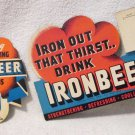 IronBeer soda original cardboard lot includes bottle topper & sign circa 1930's