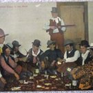 Early Western Cowboy Gambling Real Photo full color postcard postally used 1910