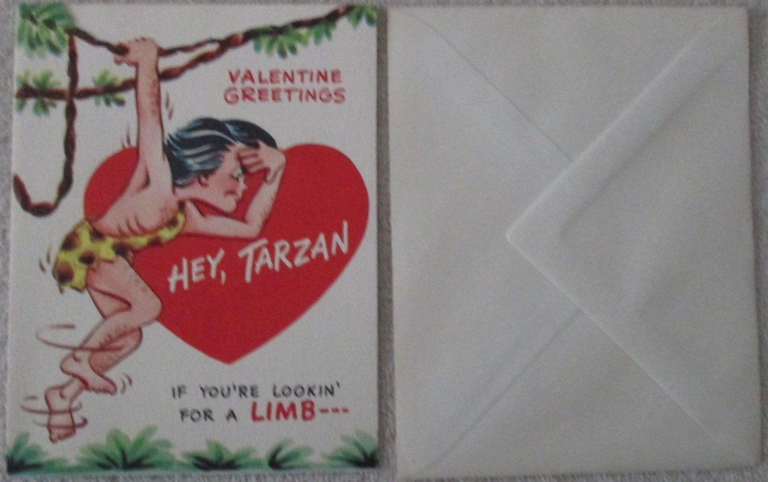 Tarzan and Jane knockoff Valentine Day card with envelope mint copyright 1964