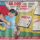 Lil' Abner Name The Shmoo contest store sign for soap products 1949
