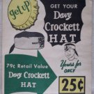 "Davy Crocket ""GET UP"" soda paper advertising sign Davy Crockett hat 1950's"