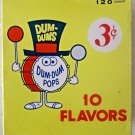 Unusual Dum Dums scarce candy box mid 1960's