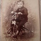 Vintage cabinet card photo Boy on Tricycle early 1900's