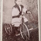 Vintage cabinet card photo girl in sailor style uniform on tricycle early 1900's