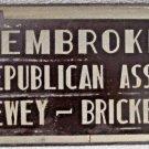 Thomas Dewey & Bricker Pembroke Republican Association unused license plate 1944