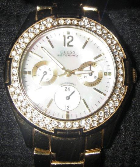 Men's Goldtone CZ Guess Watch