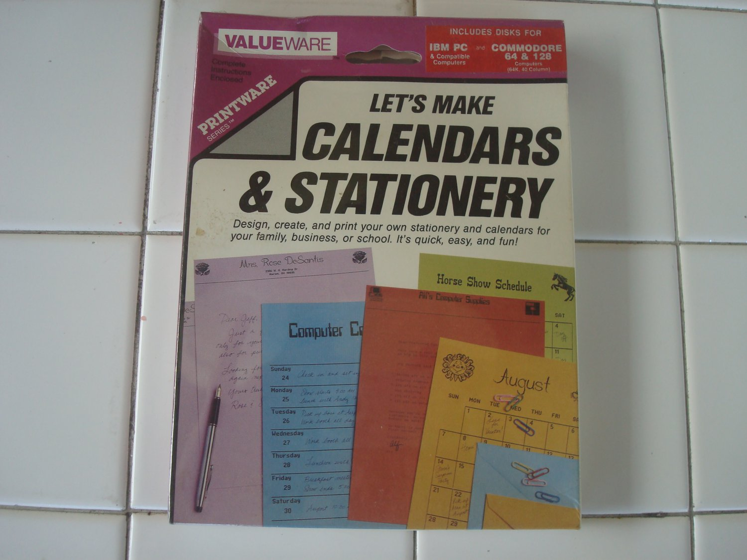 Calendars & Stationary For IBM PC *AND* Commodore 64/128, NEW FACTORY SEALED