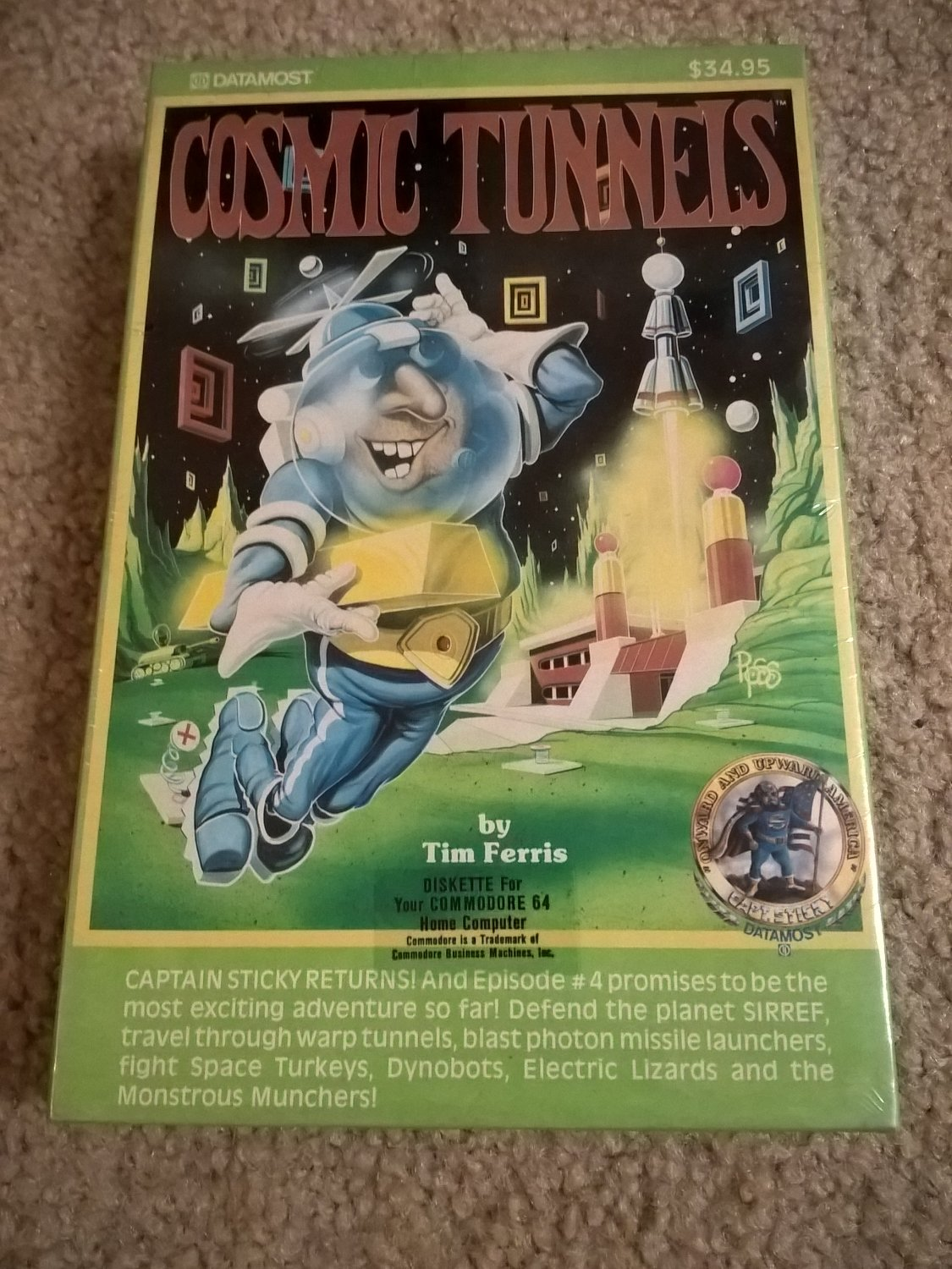Cosmic Tunnels For Commodore 64/128, NEW FACTORY SEALED, DataMost