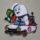 """Real Ghostbusters Iron On Patch Sew On Ambulance Stay Puft Marshmallow Man Slimer 4"""" New"""