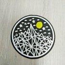Mountain Moon Stars Iron On Sew On Patch Embroidered Geometric Dark Night Outdoors 8 x 8cm
