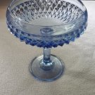 Vtg 1960s Indiana Glass Diamond Point Ice Blue 7 in Pedestal Compote Candy Dish