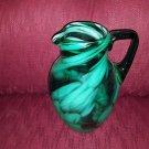 Vintage Dark Green & Light Green Art Glass Blown Pitcher/Vase Swirled Flecked