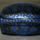 Vintage Sudha Lacquered Paper Mache Hand Painted Made in India Trinket Box-BLUE