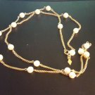Vintage 1976 Sarah Coventry Patrician Necklace,Goldtone Chain with Faux Pearls