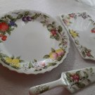 3 Piece Lot of Andrea by Sadek Porcelain Cake Plate and Server & Cheese Plate