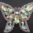 Vintage 1950's Signed Weiss Colorful Figural Rhinestone Butterfly Brooch Pin