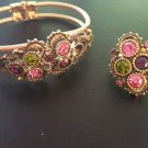 Vintage 1973 Sarah Coventry Austrian Lights Colored Rhinestone Ring & Bracelet