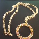 Vintage 1974 Sarah Coventry Picadilly Wreath Necklace,Goldtone Chain Rhinestones