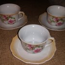 3 Vintage Made in Bavaria Tea Cups and Saucers, Red Lion