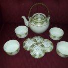 Vintage Japanese Tea Set, Teapot and Covered Large Sake Cups Bowls, Asian