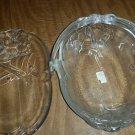 Set of 2 Vintage Mikasa Holiday Bells Oval Glass Serving Dishes Basket & Plate
