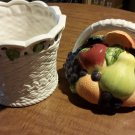 Beautiful Basket of Fruit Int'l Art Cookie Jar Made in China Apples Grapes Pears