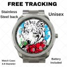 Nice Wolf Art With Roses Unisex Sport Metal Watch