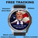 Donald Trump US President Unisex Round Metal Watch-Leather Band