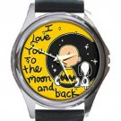 PEANUTS CHARLIE BROWN Unisex Round Metal Watch-Leather Band