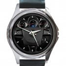 Cadillac Car Steering Wheel Unisex Round Metal Watch-Leather Band