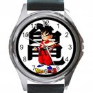 Dragonball Goku Unisex Round Metal Watch-Leather Band