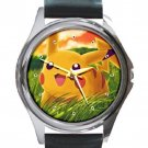 Pokemon Pikachu Unisex Round Metal Watch-Leather Band