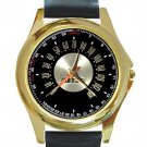 Ford Thunderbird Pedometer Unisex Round Gold Metal Watch-Leather Band