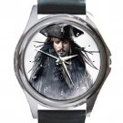 Johnny Depp Pirates Unisex Round Metal Watch-Leather Band