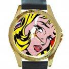 Roy Lichtenstein Unisex Round Gold Metal Watch-Leather Band