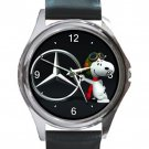 Snoopy Mercedes Unisex Round Metal Watch-Leather Band