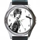 Prince Rock Singer Unisex Round Metal Watch-Leather Band