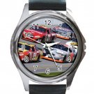 Nadscar Racing Unisex Round Metal Watch-Leather Band