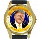 President Donald J Trump Unisex Round Gold Metal Watch-Leather Band