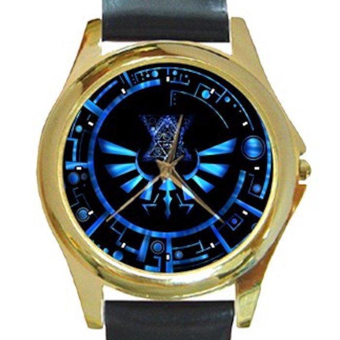 Legend Of Zelda Blue Logo Unisex Round Gold Metal Watch-Leather Band
