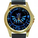 Legend Of Zelda Blue Logo Unisex Round Gold Metal Watch-Leather Band