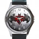 Nice Batman Vs Superman Unisex Round Metal Watch-Leather Band