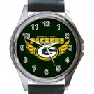 Pro Football Green Packers Unisex Round Metal Watch-Leather Band