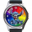 Disney Stitch Coloful Background Unisex Round Metal Watch-Leather Band