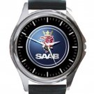 Saab Automobile Logo Unisex Round Metal Watch-Leather Band