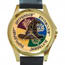 Harry Potter Crest Unisex Round Gold Metal Watch-Leather Band
