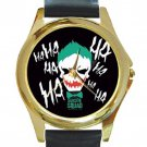 Joker Sucide Squad Unisex Round Gold Metal Watch-Leather Band