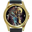 Chucky Child's Play Unisex Round Gold Metal Watch-Leather Band