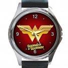 Wonder Woman Unisex Round Metal Watch-Leather Band