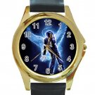 Michael Jackson Unisex Round Gold Metal Watch-Leather Band